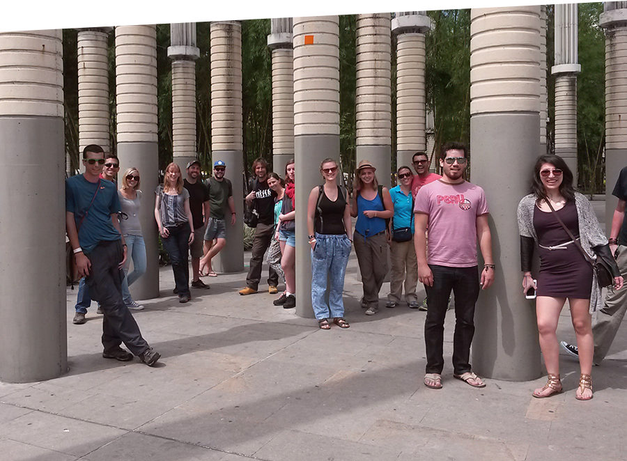 People on free walking tour in lights square- Real City Tours Medellin